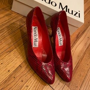 Nando Muzi Red Leather high heel women 37.5 shoes